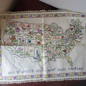 Vintage Crewel/Cross stitch US map w/state flower